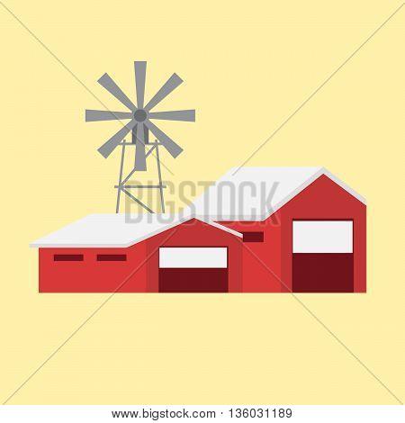 Rural landscape with rural buildings eps 10