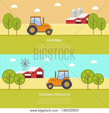Agriculture and Farming. Agribusiness. Rural landscape eps10