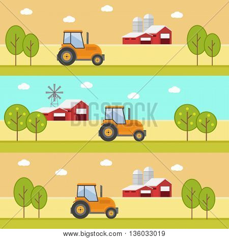 Organic products. Agriculture and Farming. Agribusiness. Rural landscape eps10