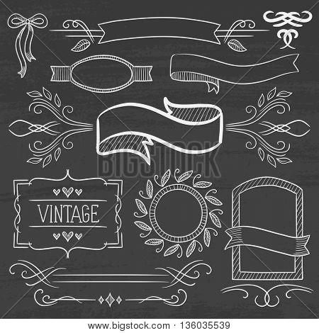 Set of vintage labels, ribbons, frames, banners, logo and advertisements. Hand drawn in chalk on a blackboard vector sketch illustration.