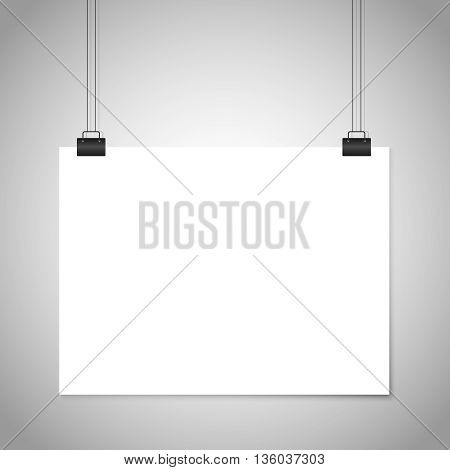 White blank paper hanging sign. Vector mockup. Poster white mockup, blank sheet page mockup, paper empty mockup illustration