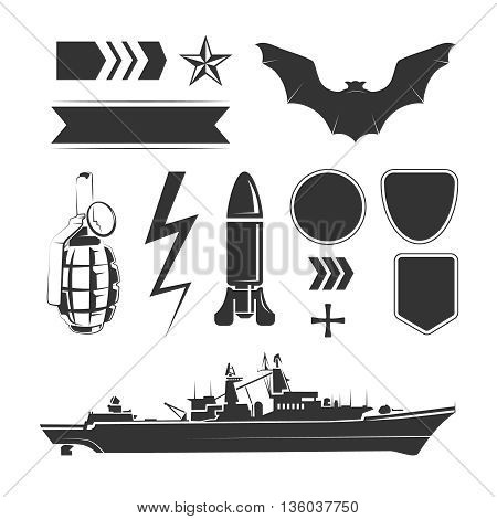 Vector elements for army, airforce and navy patches and labels. Force air army, design military army, navy army element illustration poster