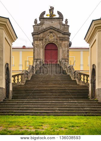 Beautiful staircase and entrance gate to Monastery and place of pilgrimage on Mountain of Holy Mother, Horni Hedec, Czech Republic
