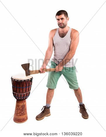 man with an ax on a white background