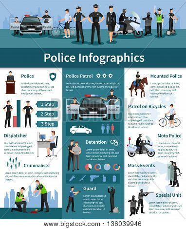 Police people flat infographics layout with mounted police dispatcher detention criminalists guards icons and information vector illustration