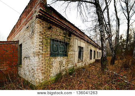 Abandoned brick one-storey building in the autumn forest.