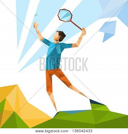 Tennis Player Sport Game Competition Vector Illustration