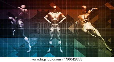 Body Combat Sport Design with Men in Fighting Stance 3D Illustration Render