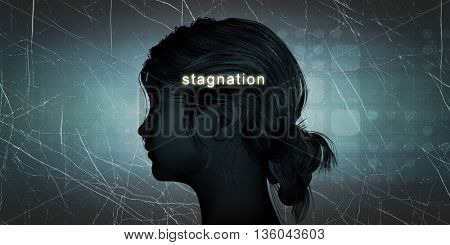 Woman Facing Stagnation as a Personal Challenge Concept 3d Illustration Render