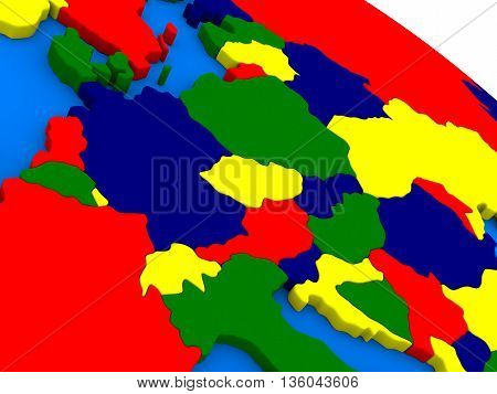 Central Europe On Colorful 3D Globe