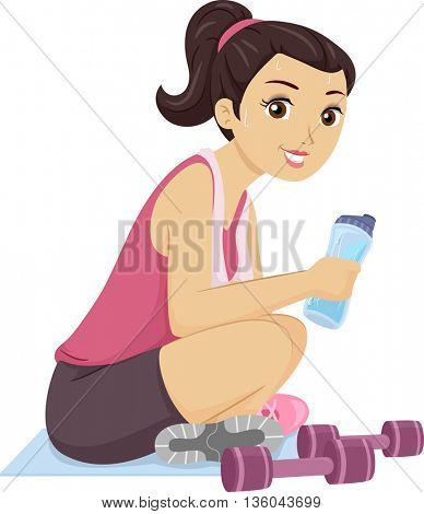 Illustration of a Teenage Girl Sweating After a Workout