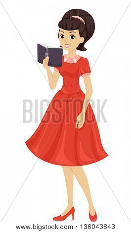 Illustration of a Teenage Girl Wearing Vintage Clothing