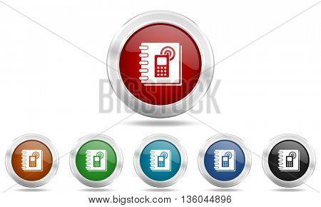 phonebook round glossy icon set, colored circle metallic design internet buttons