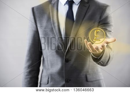 Man pressing buttons with british pound