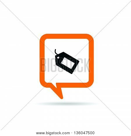 square orange speech bubble with tag icon