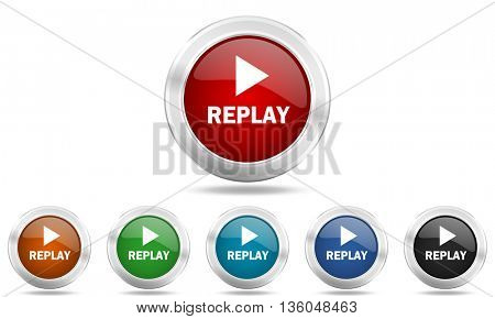 replay round glossy icon set, colored circle metallic design internet buttons