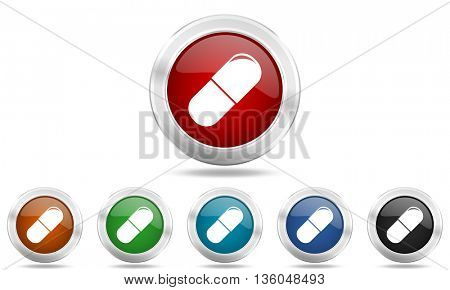 drugs round glossy icon set, colored circle metallic design internet buttons
