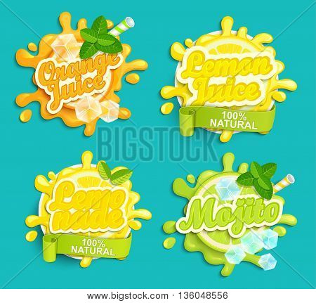Set of Lemonade, orange, lemon juice, mojito labels splash. Lettering, splash and blot design, shape creative vector illustration.