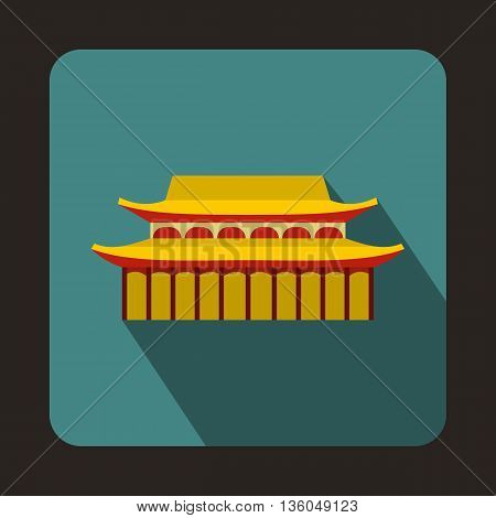 Buddha Toothe Relic Temple in Singapore icon in flat style on a bluegreen background