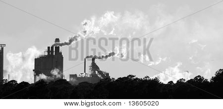 Factories Along the Florida Coast in Silhouette