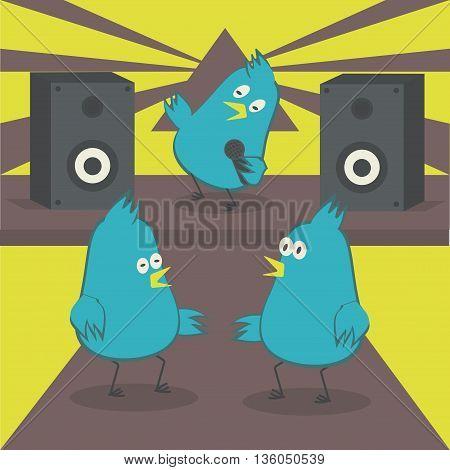 Dancing birds. The bird sings into the microphone. Disco with karaoke. Vector illustration.