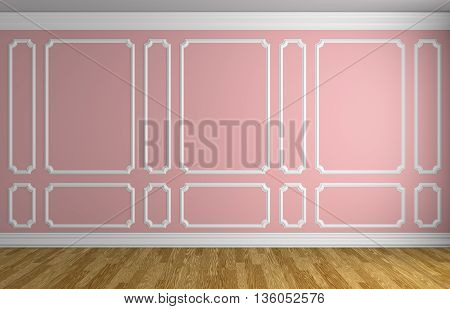 Pink Wall In Classic Style Room