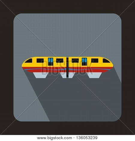 A colorful monorail train icon in flat style on a gray background