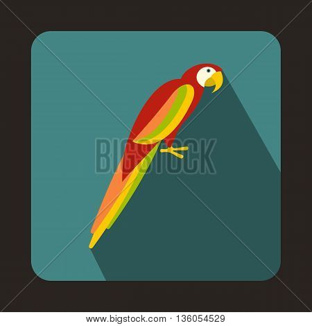 Colorful parrot icon in flat style on a bluegreen background