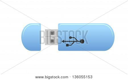 USB Memory Sticks - flash drive. Blue universal flash drive isolated on the white background. USB flash drive - vector illustration.