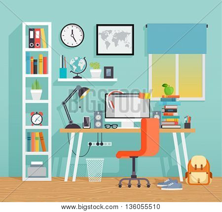Workplace of the schoo kid - flat style. Vector illustration.