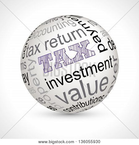 Tax theme sphere with keywords full vector