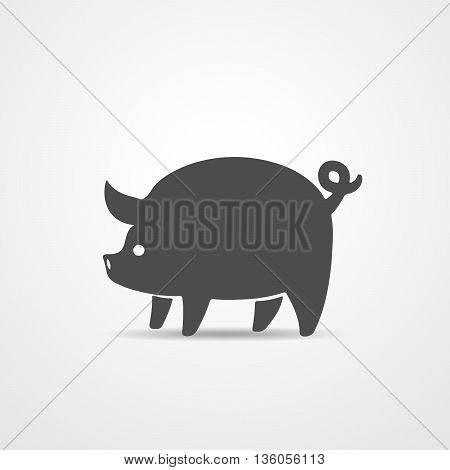 Gray pig - vector illustration. Simple abstract pig icon on white background.