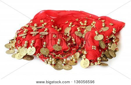 fabric with sewn coins for belly dance with passion skirt