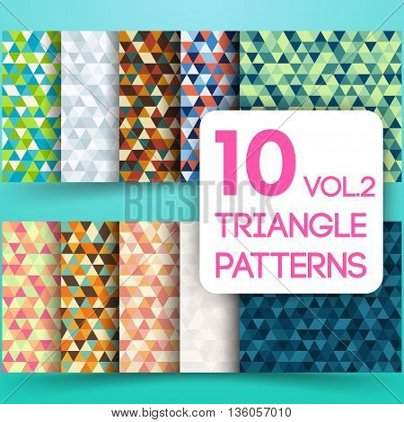 Set of colorful triangle vector background illustration. Triangle geometric mosaic seamless patterns. Vol. 2.