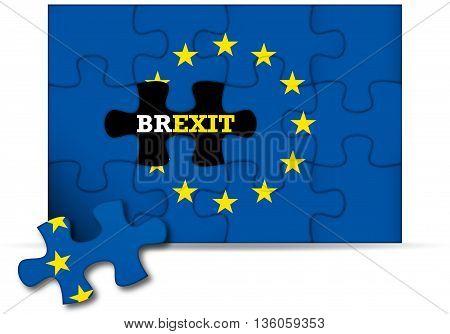 Brexit - European Union flag puzzle incomplete - 3D rendering