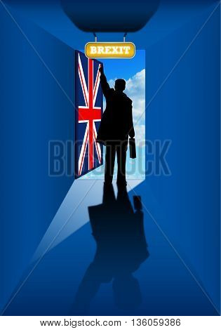 Brexit - Silhouette of man in blue room by opening a door with the flag of the United Kingdom. Illustration