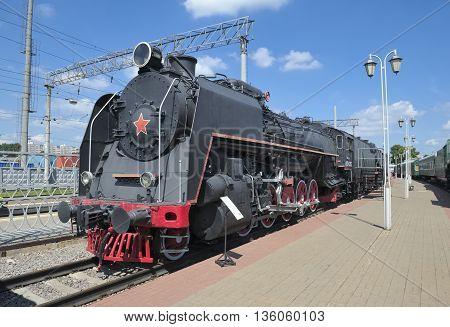MOSCOW, RUSSIA - JUNE 23, 2016: Museum of Railway Transport of the Moscow railway locomotive FD Series (Felix Dzerzhinsky) FD 21-3125 symbol of Stalinist era industrialization of the country built in 1941