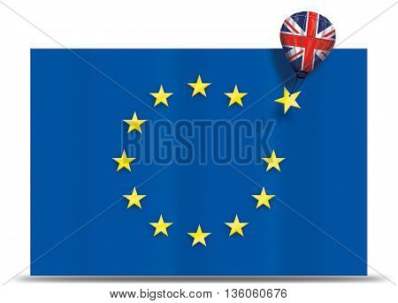 Brexit - Balloon with United Kingdom removing a yellow star of the European Union flag. Illustration