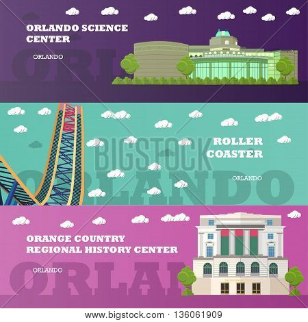 Orlando tourist landmark banners set. Vector illustration with American famous buildings. Roller coaster, history center. Travel to Florida concept.