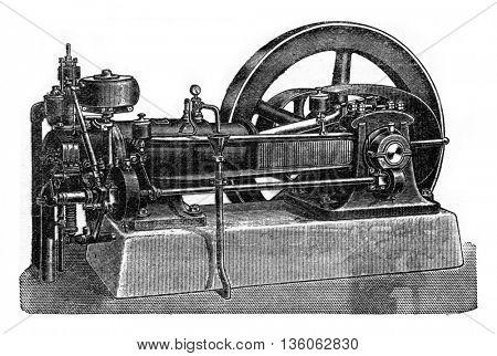 Niel engine, vintage engraved illustration. Industrial encyclopedia E.-O. Lami - 1875.