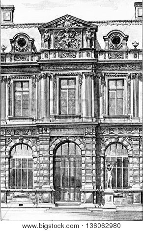 Fa�§ade of the Henry IV Gallery at the Jardin de l'Infante at the Louvre Museum in Paris, France. Vintage engraving.