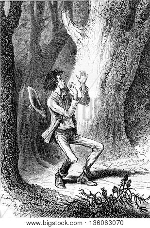 A man afraid in the forest. An insect flies to his nose. From Jules Verne Dick Sand, a 15-Year Old Captain Book, vintage engraving, 1878.