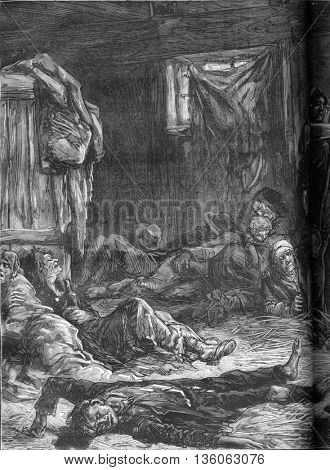Aftermath of a brawl in a flophouse in London. From Travel Diaries, vintage engraving, 1884-85.