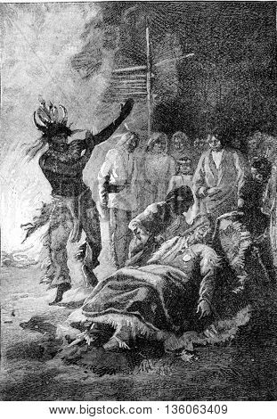 Witch doctor performing his ritual dance on the sick. From Jules Verne Cesar Cascabel, vintage engraving, 1890.
