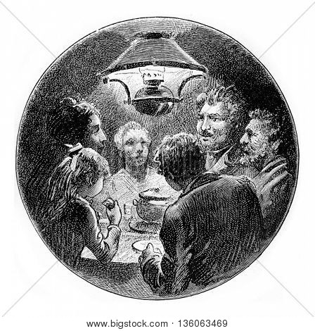 A family closely gathered together around a small table under a lamp. From Jules Verne Cesar Cascabel, vintage engraving, 1890.