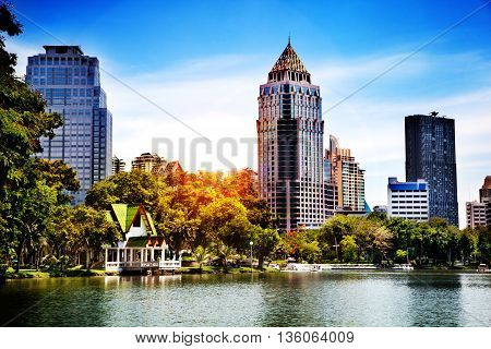 Landscape in Lumpini Park in Bangkok, Thailand. Lake, sunset background and modern skyscrapers in the city
