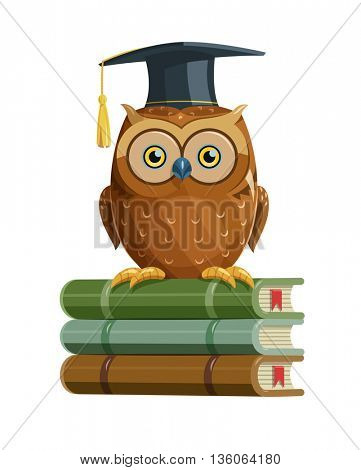 Clever owl sitting on books education vector illustration bird teacher with students cap