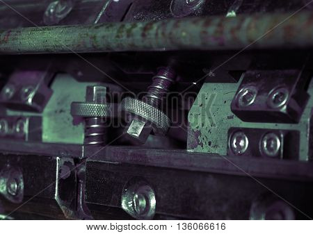 Fragment of printing machine macro. Macro photo