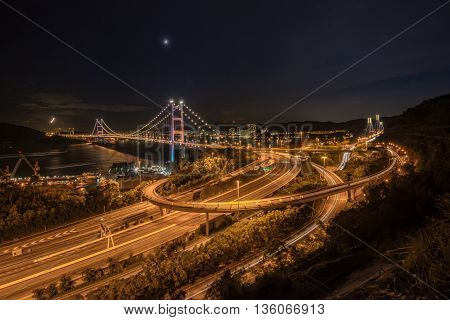 Beautiful Night Scenes Of Tsing Ma Bridge The Highway Road In Hong Kong