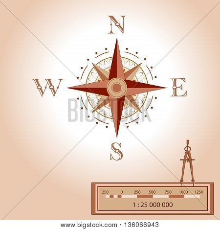 Wind rose illustration. Isolated vector. Element of an antient or old style map decoration. Wind rose is a tool to guide travellers and read maps. Shows North South East West measurment